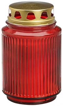 Bolsius Grablicht / Laternenglas mit Deckel rot Bild 1