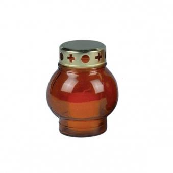 Grablicht / Grablampe Glas rot mit Kerze H 14cm Bild 1