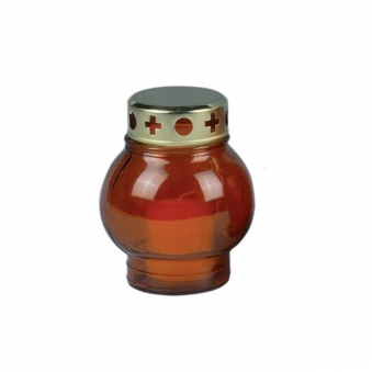 Grablicht / Grablampe Glas rot mit Kerze H 14cm - bei edingershops.de