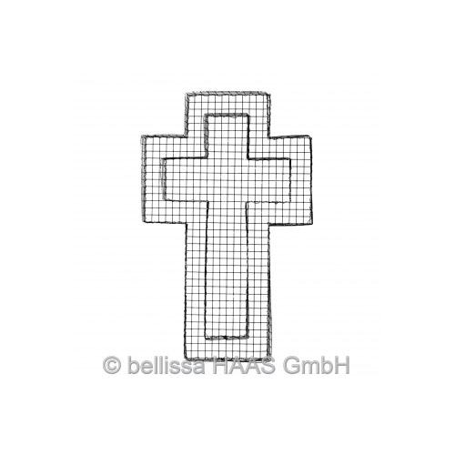 Kreuz Drahtgitter mit 3 Kg Dekokies weiss Körnung 10-25mm Bild 2