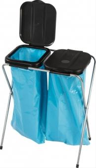 Müllständer / Abfallsammler 2-fach mit Deckel für 120 Liter Müllsack Bild 1