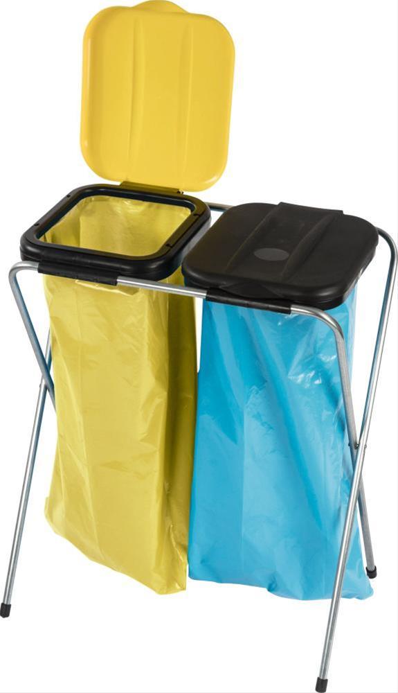 Müllständer / Abfallsammler 2-fach mit Deckel schw./gelb 120L Müllsack Bild 1