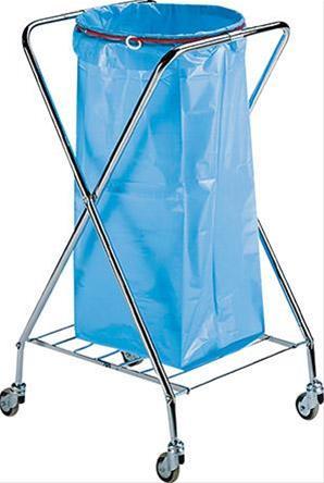 Müllständer / Abfallsammler Chrom fahrb. 580x560x102cm f.120L Müllsack Bild 1