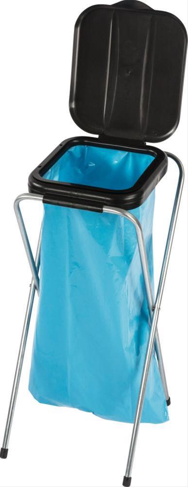 Müllständer / Abfallsammler mit Deckel schwarz für 120 Liter Müllsack Bild 1