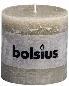 Bolsius Stumpenkerze Rustik Ø 100mm Höhe 100mm kieselgrau - 1 Stück Bild 1