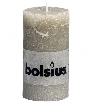 Bolsius Stumpenkerze Rustik Ø 68mm Höhe 130mm kieselgrau - 1 Stück Bild 1