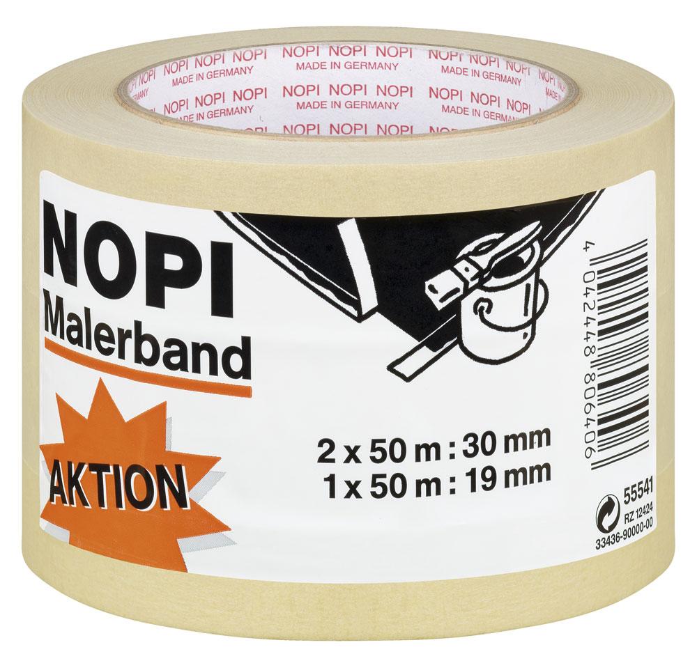 NOPI® Klebeband / Malerkrepp 19mm/30mmx50m Set 3 Rollen Bild 1
