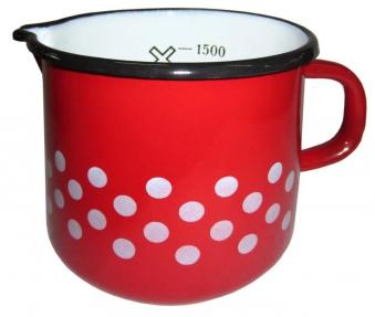 Retro Messbecher mit Griff 0,6 L rot / weiße Punkte Bild 1