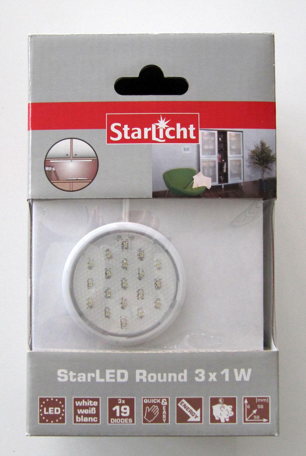 StarLicht StarLED Round / Schrankleuchte 3x1W je 19 LED`s Licht weiß Bild 1