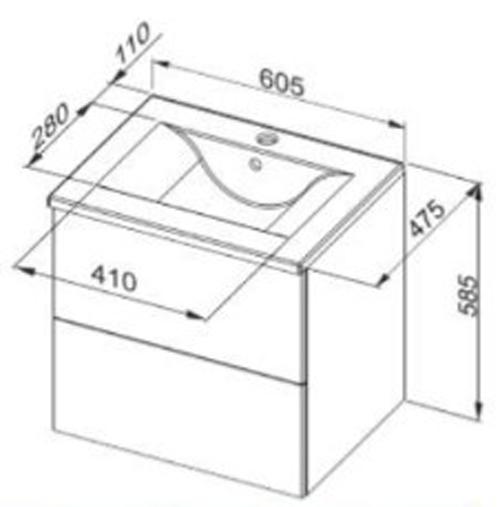 Waschbeckenunterschrank Colima mit Waschbecken 65x58,5x47,5cm Bild 2