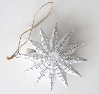 Weihnachtdeko 3D Stern aus Metall weiß 14cm Bild 1