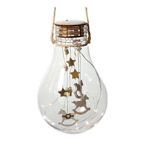 Weihnachtsdeko LED Glühbirne mit Behang batteriebetrieben Bild 1
