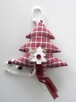 Weihnachtsdeko Tanne aus Stoff kariert H20cm Bild 1