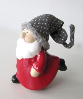 Weihnachtswichtel aus Keramik mit Wollmütze H16cm Bild 1