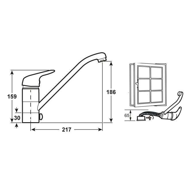 Cornat Küchenarmatur / Spültisch-Einhebelmischer Stilo verchromt Bild 3