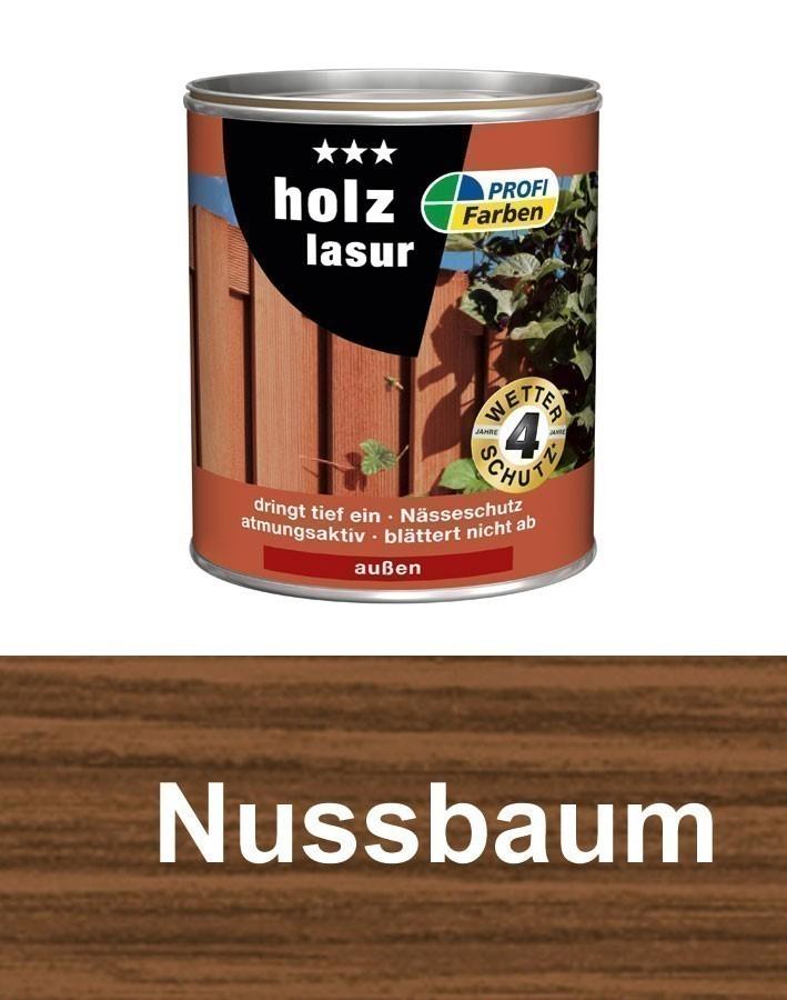 Holzlasur / Holzschutz Lasur PROFI Farben 2,5 L Nußbaum Bild 1