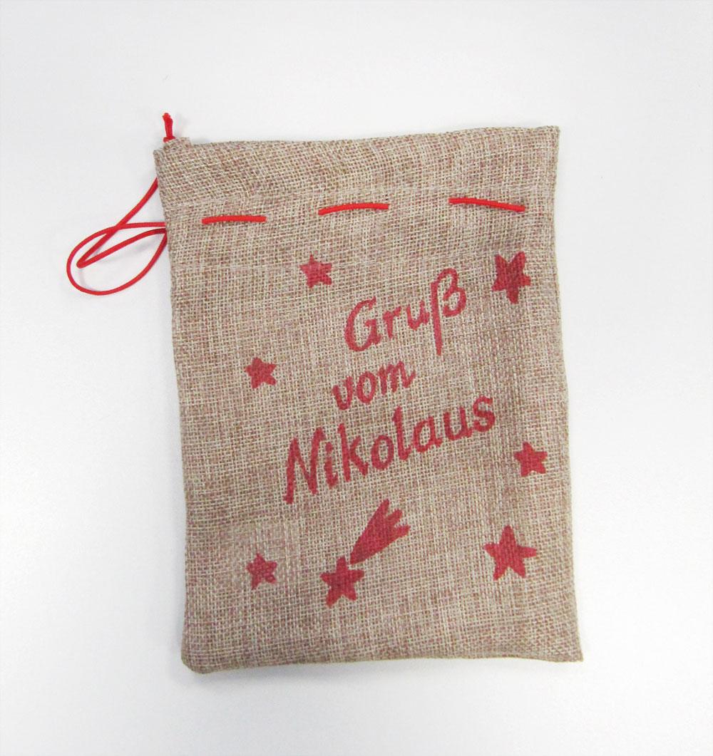 Jute Geschenkbeutel Gruß vom Nikolaus 15x20cm Bild 1