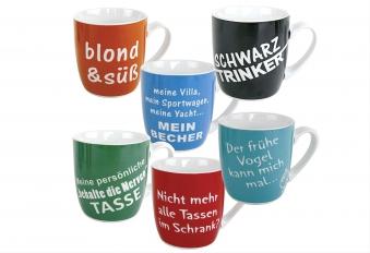 Kaffeebecher Spruch Porzellan sortiert 400 ml 9,8cm Ø8,5cm grün/rot/Schwarz/blau/orange Bild 1