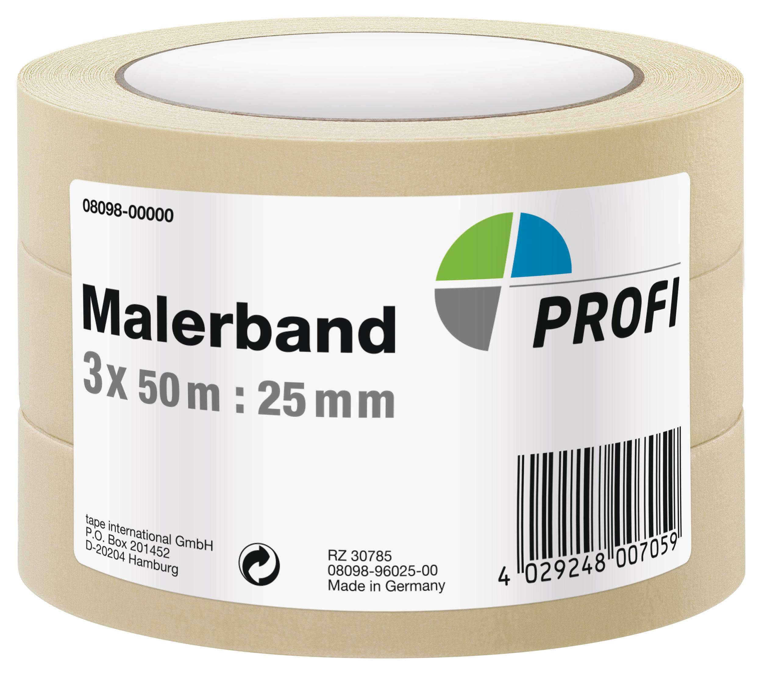 PROFI Malerband / Malerkrepp 50mx25mm 3 Stück Bild 1