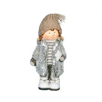 Weihnachtsdeko Terrakotta Winterkind mit Stern Bild 1