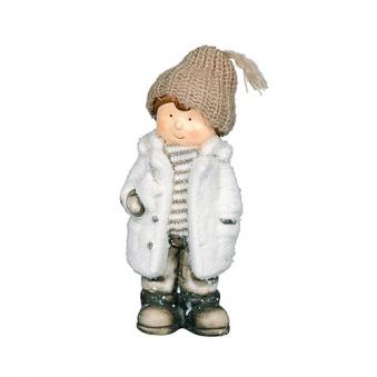 Weihnachtsdeko Terrakotta Winterkind mit Stern Bild 2