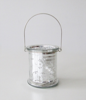Windlicht / Teelichtglas silber H 10cm Bild 1