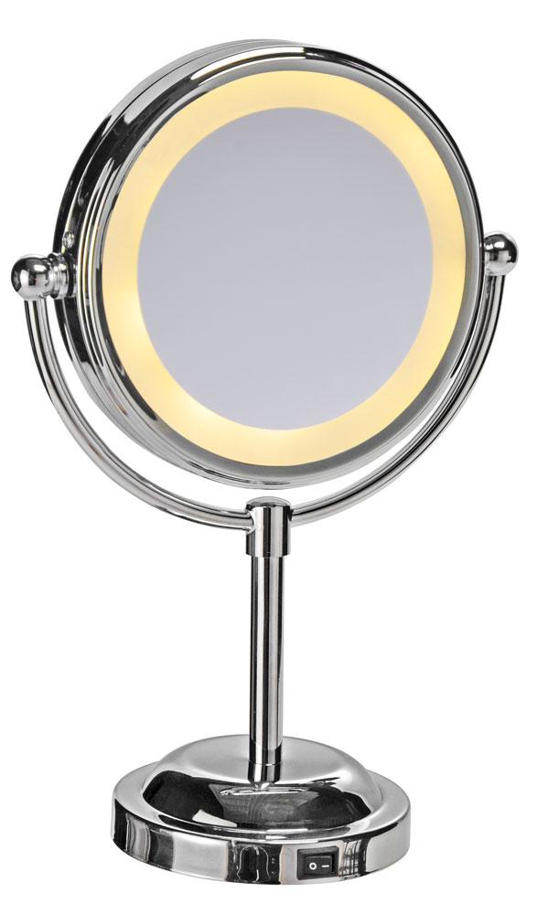 Stand Kosmetikspiegel mit LED Ø15cm silber Bild 1