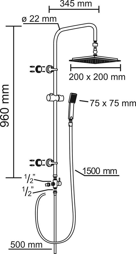 CON:P Duschset CARBALLO Überkopf-Brauseset eckig mit Anti-Kalk-Funkion Bild 3