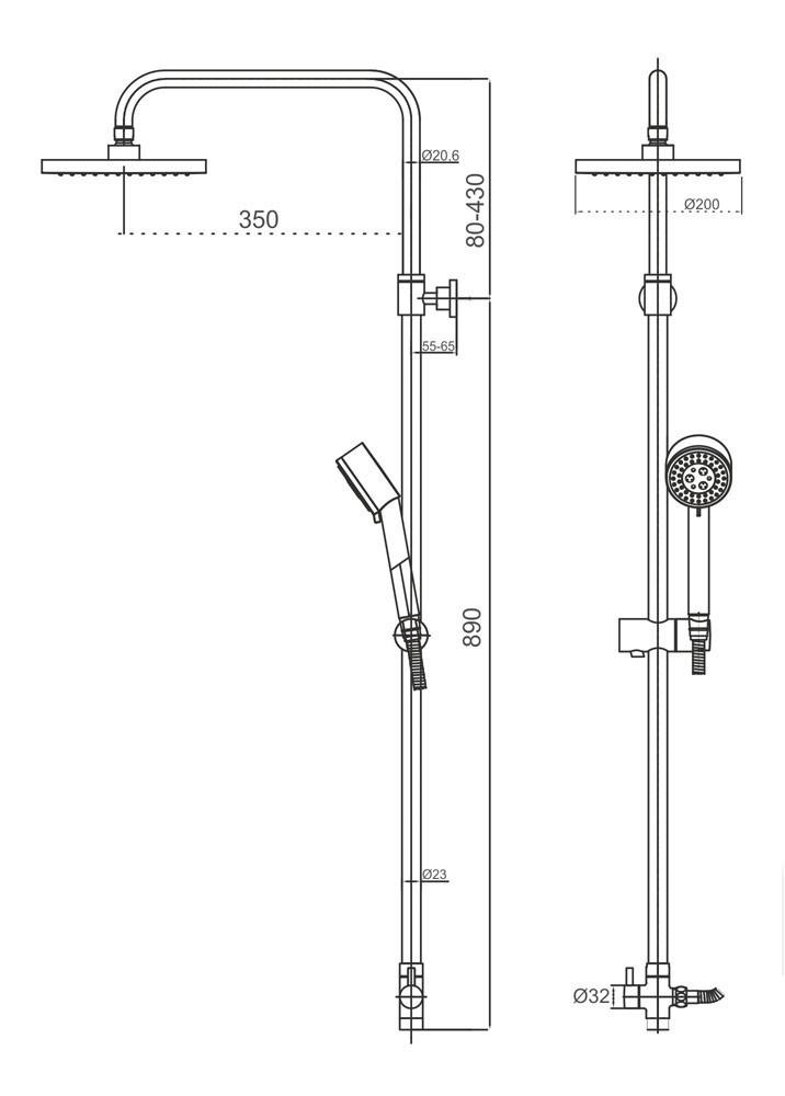 Cornat Duschsystem PERFECT mit Thermostat und Anti-Kalk-Funktion Bild 2