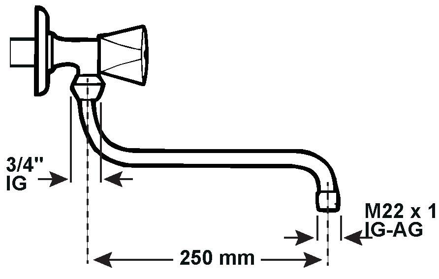 Cornat Rohrauslauf verchromt S-Form mit Spareinsatz 250mm Bild 2