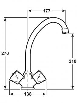 Cornat Zweigriff-Armatur Spültisch Lisa / Küchen-Armatur verchromt Bild 2