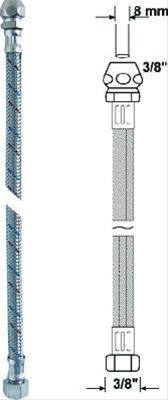 Anschlussrohr-flex.500 mmchrom Verschraub. 8 mm Bild 1