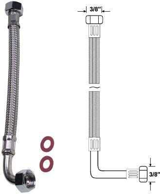 "Winkel Anschlussrohr flexibel 200mm 3/8""x3/8"" Bild 1"
