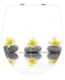 WC-Sitz Wenko Hochglanz Acryl Stones & Flower Duroplast Absenkautom. Bild 1