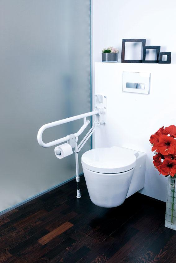 gah alberts st tzklappgriff mit bodenst tze haltegriff wei bei. Black Bedroom Furniture Sets. Home Design Ideas