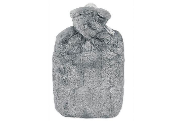 Wärmflasche Mikrofaser Flausch  grau 25 x 19,5 cm Bild 1