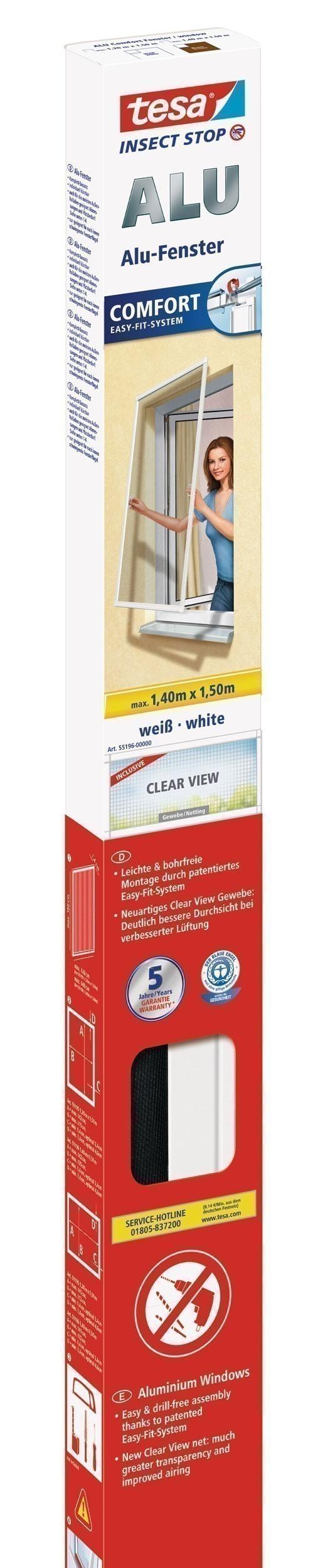 tesa® Insect Stop Fliegengitter Alu Comfort Fenster 1,4 m x 1,5 m weiß Bild 1
