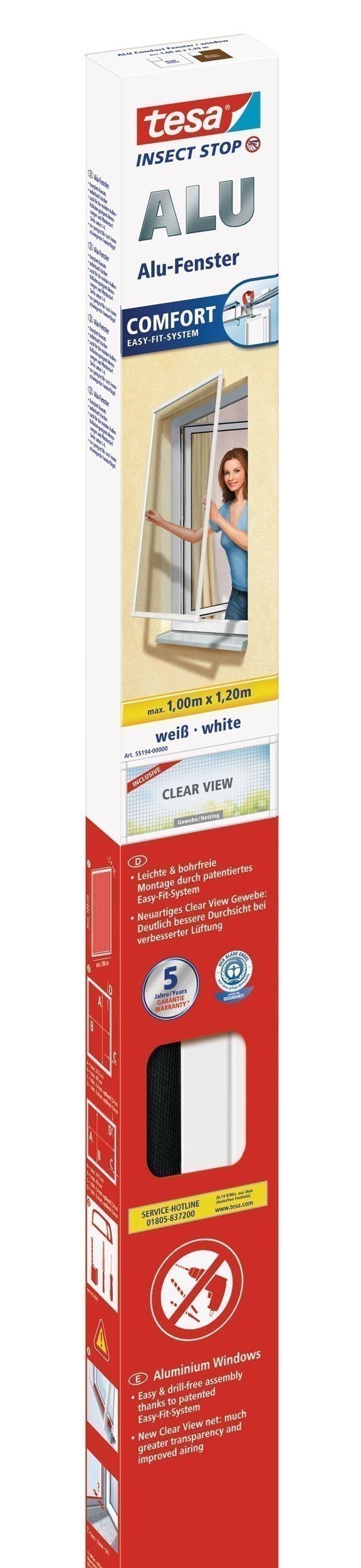 tesa® Insect Stop Fliegengitter Alu Comfort Fenster 1 m x 1,20 m weiß Bild 1