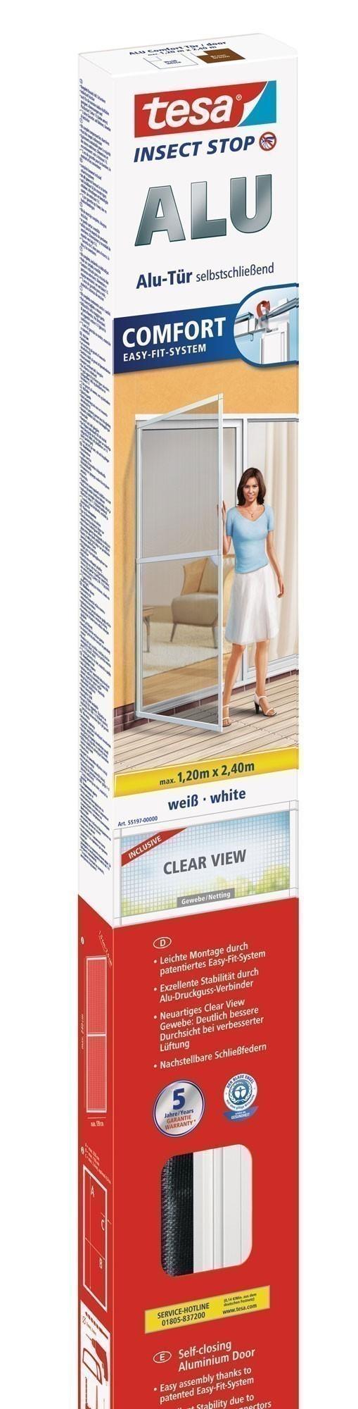 tesa® Insect Stop Fliegengitter Alu Comfort Tür 1,20 m x 2,40 m weiß Bild 1