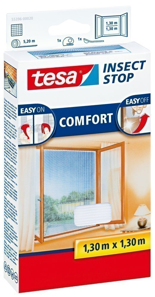 tesa® Insect Stop Fliegengitter Klett Comfort Fenster 1,3 x 1,3 m weiß Bild 1