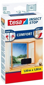 tesa® Insect Stop Fliegengitter Klett Comfort Fenster 1 x 1m anthrazit Bild 1