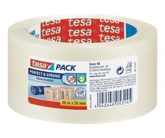 tesa® Klebeband / Packband Perfekt & Strong 66m 50mm transparent Bild 1