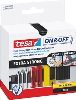 tesa® ON & OFF Klettband extrastark 50mm 1m schwarz Bild 1