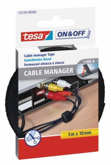 tesa® On & Off Cable Manager Klett 5 m x 10 mm schwarz Bild 1