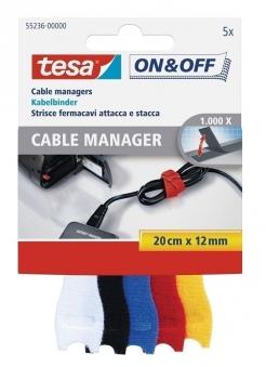 tesa® On & Off Klett Kabelbinder 5 Stück 20 cm x 12 mm bunt Bild 1