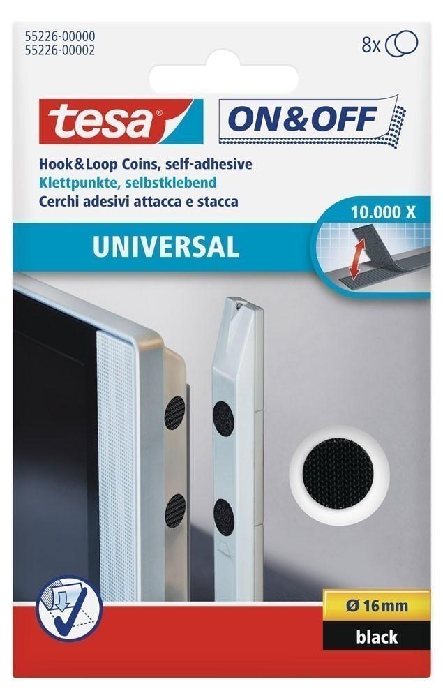 tesa® On & Off Klettpunkte schwarz 8 Stück Ø 16 mm Bild 1