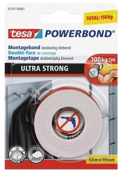 tesa® Powerbond Montageband Ulrta Strong 1,5 m x 19 mm