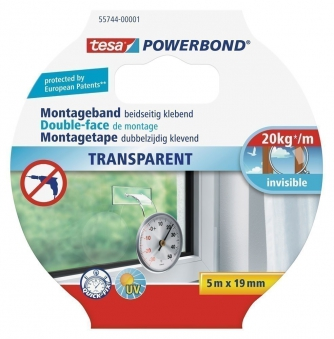 tesa® Powerbond transparent 5 m x 19 mm
