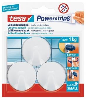 tesa® Powerstrips Haken Small Rund weiß 3 Stück Bild 1