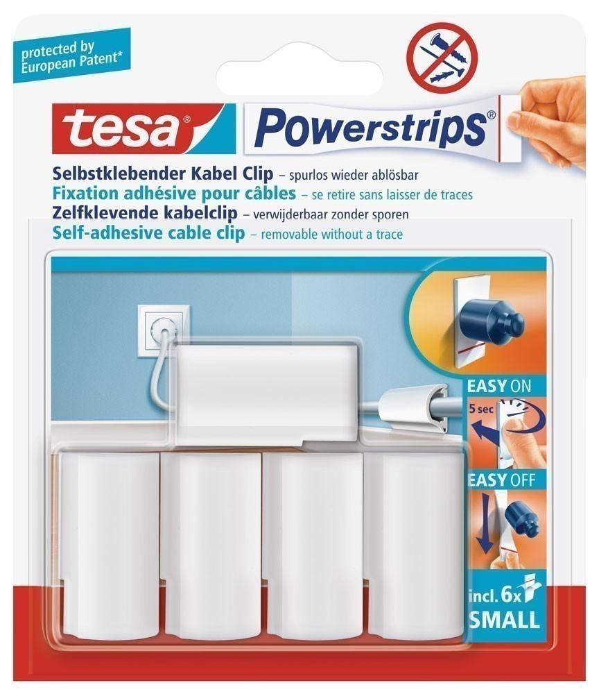 tesa® Powerstrips Kabel-Clip weiss 5 Stück 8 mm Bild 1